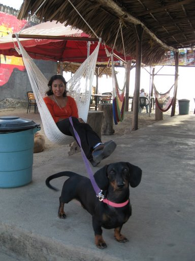 Erika and Rosie at Playa Roca