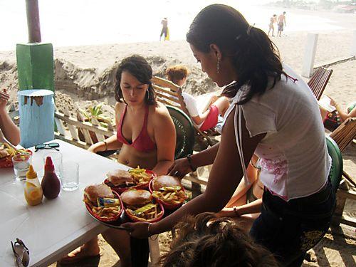 Hamburgers at Playa Roca Hotel